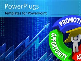 PowerPlugs: PowerPoint template with a white 3D character carrying a yellow arrow sign.