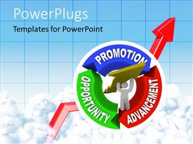 PowerPlugs: PowerPoint template with man lifting an arrow within a circular diagram showing the keywords