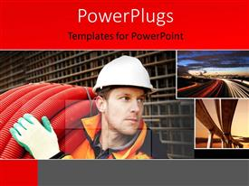 PowerPlugs: PowerPoint template with a man lifting a roll of big red pipes carrying out road constructions
