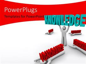 PowerPlugs: PowerPoint template with 3D man lifts up word KNOWLEDGE with burden of IGNORANCE on colleagues