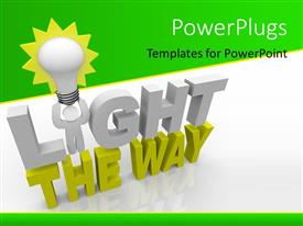 PowerPlugs: PowerPoint template with a light bulb and text which spells out the words 'light the way'