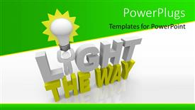 PowerPoint template displaying a light bulb and text which spells out the words