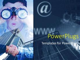PowerPlugs: PowerPoint template with man look through pair of binoculars with internet depictions and office buildings