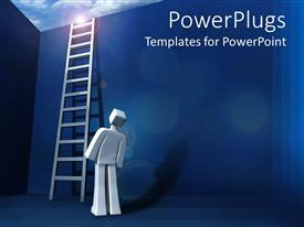 A PowerPoint with man look up at ladder standing beside wall leading out of box
