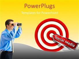 PowerPlugs: PowerPoint template with man looking through binoculars at social media dart stuck on bulls eye