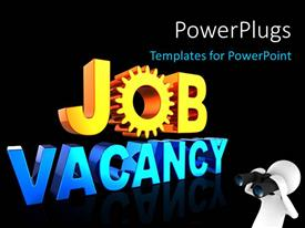 PowerPlugs: PowerPoint template with man looking through binoculars with text job vacancy on black background