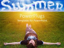 PowerPlugs: PowerPoint template with a man lying down on a grass field with the text 'Summer' in the clouds