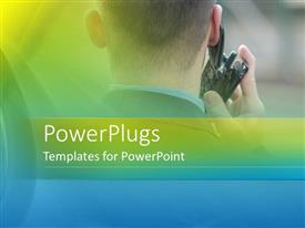 PowerPlugs: PowerPoint template with a man making a phone call on a fuzzy blue and green colored background