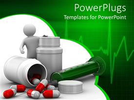 PowerPoint template displaying man next to huge pill bottles with spilled pills and syringe
