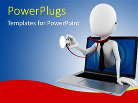 PowerPlugs: PowerPoint template with a white colored 3D human character with a stethoscope in a laptop