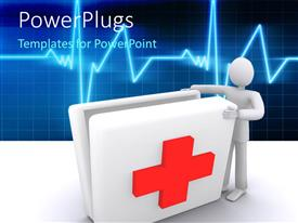 PowerPlugs: PowerPoint template with man opening first aid box with medical symbol on it and ECG wave in background