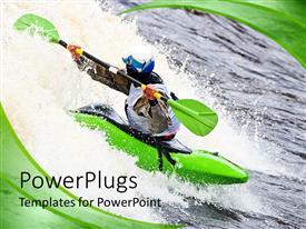 PowerPoint template displaying man paddling kayak on white water, green swirl background