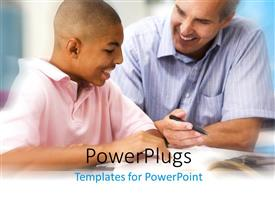 PowerPoint template displaying man with pen in hand teaching younger student