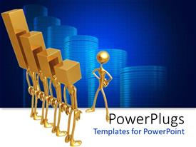 PowerPoint template displaying man plated in gold stands akimbo in front of men with bar heads