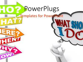 PowerPlugs: PowerPoint template with a person who is confused with white background