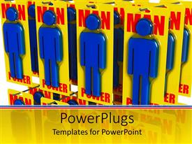 PowerPoint template displaying man power blue figures packed, displayed in a shop style