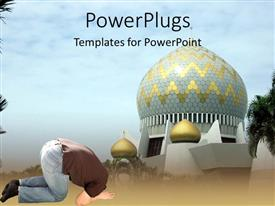 PowerPoint template displaying a man praying in front of a mosque abstract