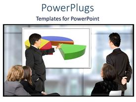 PowerPlugs: PowerPoint template with man presenting pie chart on screen at business meeting