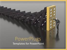 PowerPlugs: PowerPoint template with man preventing dominoes from tipping over