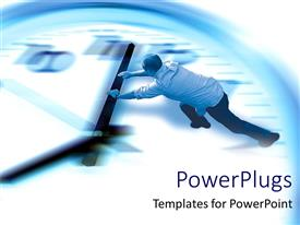 PowerPoint template displaying man pushing gigantic clock minute arm in shadowy background