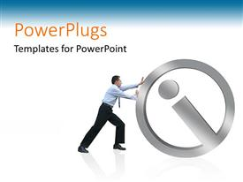 PowerPoint template displaying man pushing the information icon on white and blue background
