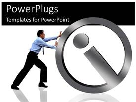 PowerPoint template displaying a man pushing a large silver info symbol on white background