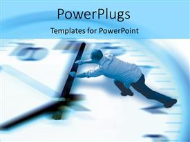 PowerPoint template displaying man pushing the minute hand of a big clock