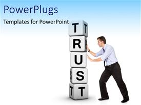 PowerPlugs: PowerPoint template with man pushing pile of white cubes with word TRUST