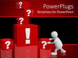 PowerPlugs: PowerPoint template with man pushing red blocks with ? and ! signs in red background