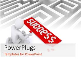PowerPlugs: PowerPoint template with man putting tiles together to form word SUCCESS on white maze