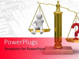 PowerPlugs: PowerPoint template with a scale with a person and words in background