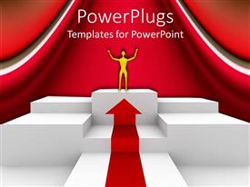 PowerPlugs: PowerPoint template with man raises hand on award podium in triumph
