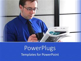 PowerPlugs: PowerPoint template with a man reading a hewspaper and holding a cup