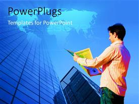 PowerPlugs: PowerPoint template with a man reading a newspaper in front of a high glass building