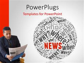 PowerPlugs: PowerPoint template with man reading newspaper with news related terms forming sphere