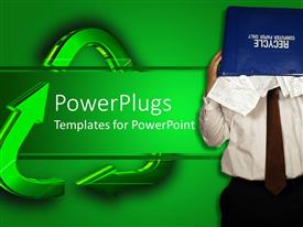 PowerPlugs: PowerPoint template with a man with a recycle bin covering his face beside green arrows