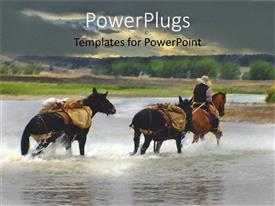 PowerPoint template displaying man riding three horses though a shallow wide lake