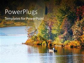 PowerPoint template displaying man rowing canoe in beautiful lake with flowers
