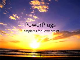 PowerPlugs: PowerPoint template with man running on beach with beautiful sunset in cloudy sky