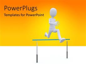PowerPlugs: PowerPoint template with man running over barrier depicting overcoming problems, orange color