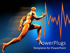 PowerPoint template displaying man running showing increase in pulse