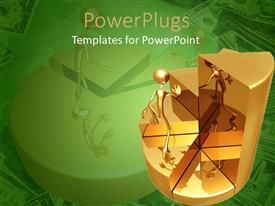 PowerPoint template displaying man running up golden pie chart on green background