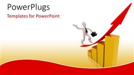 PowerPoint template displaying 3D businessman running up red arrow on business chart
