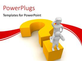 PowerPlugs: PowerPoint template with man seeking answer climbs shoulder of friend to have clearer view