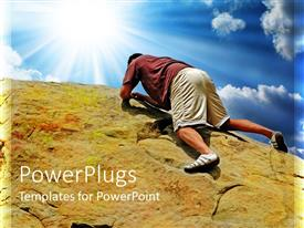 PowerPoint template displaying man in shorts holds on to rock while climbing to top