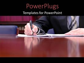 PowerPlugs: PowerPoint template with man signingbusiness document with ballpoint pen on desk