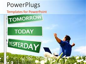 PowerPlugs: PowerPoint template with man sits in grass field beside road sign with hands outstretched
