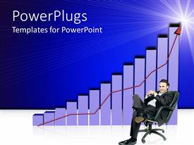PowerPlugs: PowerPoint template with a man sitting on a chain with increasing white colored bars and a red arrow