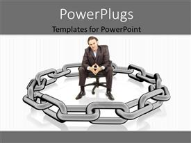 PowerPlugs: PowerPoint template with man sitting comfortable surrounded by metallic chain over white background