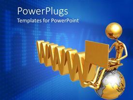 PowerPlugs: PowerPoint template with man sitting on globe beside 3D WWW on blue background